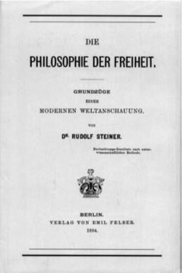 "La portada original de ""La Filosofia de la Libertad"", publicada en Berlin, 1894."